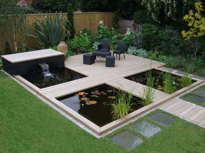 garten wasserfall selber bauen gartenbrunnen pflanzen exterieur