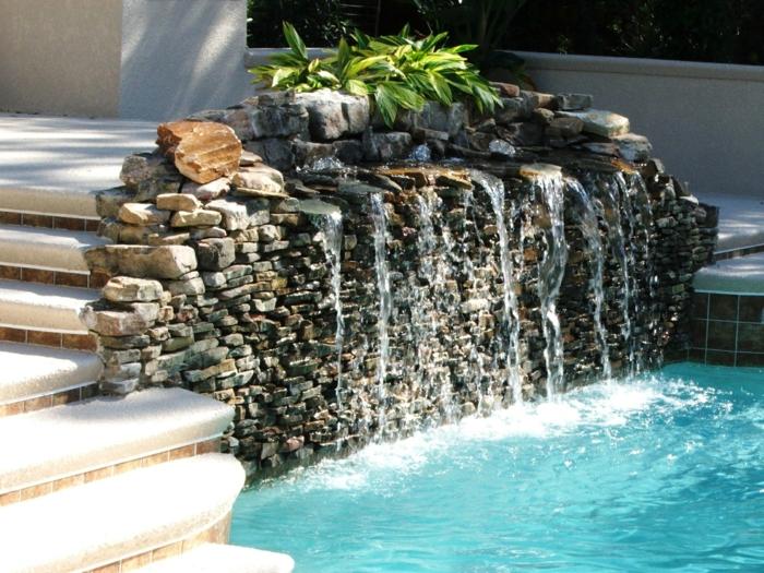 garten wasserfall selber bauen ideen außenbereich gestalten
