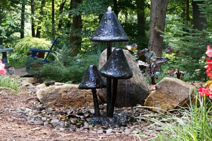 gartenbrunnen ausgefallene gartenideen wasser pilze