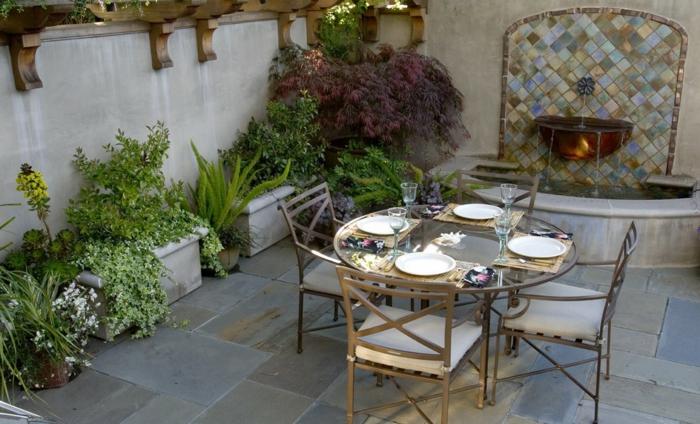 gartenbrunnen design gartengestaltung gartenbereiche essbereich pflanzen