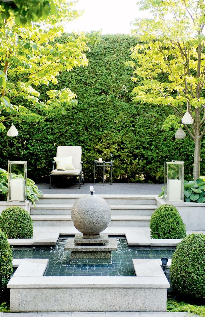 gartenbrunnen design hinterhof gestalten exterieur ideen