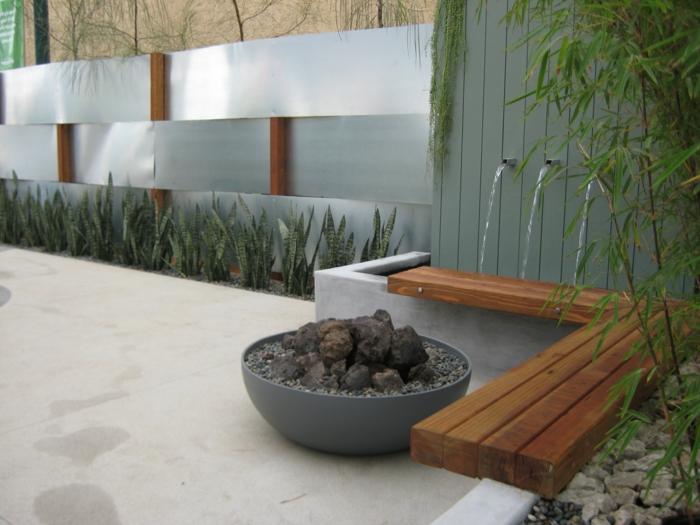 gartenbrunnen design modern gartengestaltung ideen pflanzen steine