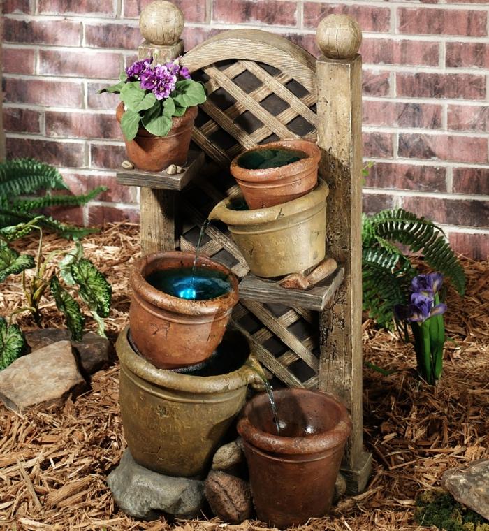 gartenbrunnen kreative gartenideen wasser einbeziehen