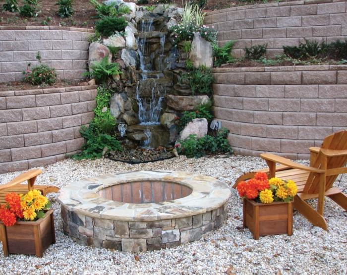 gartenbrunnen steingarten feuerstelle hölzerne sessel pflanzenbehälter