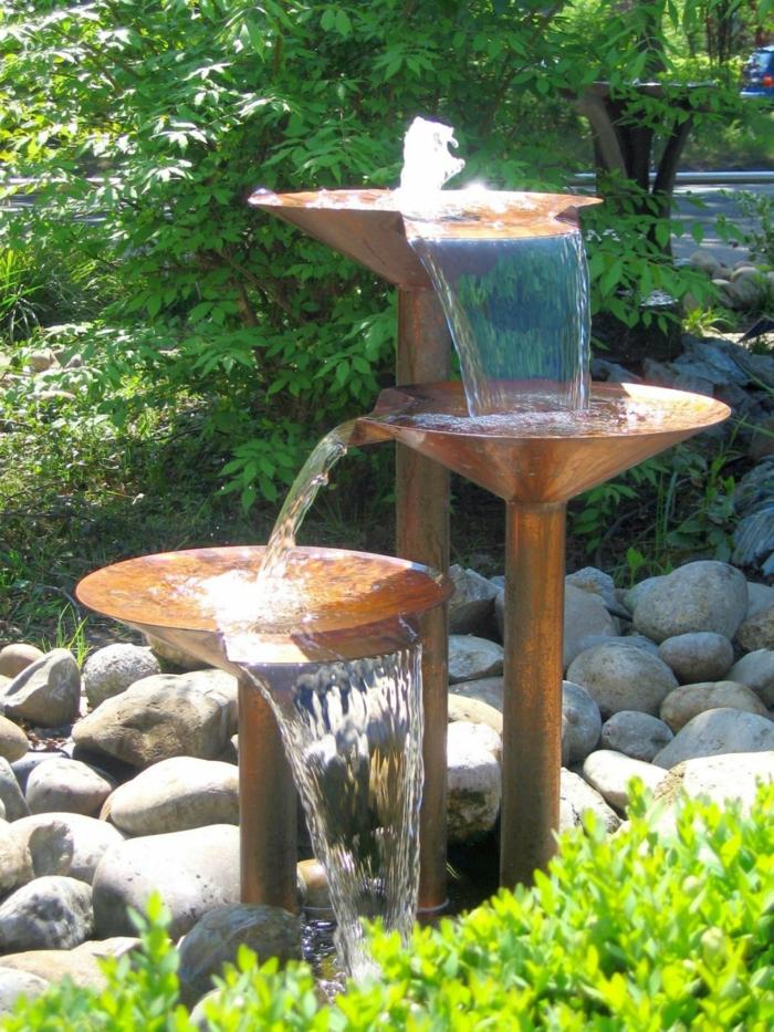 Gartenideen Fließendes Wasser Steine Garten Gestalten