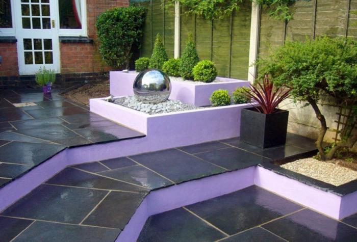 gartenideen gartenbrunnen stufenweise gartengestaltung lila elemente