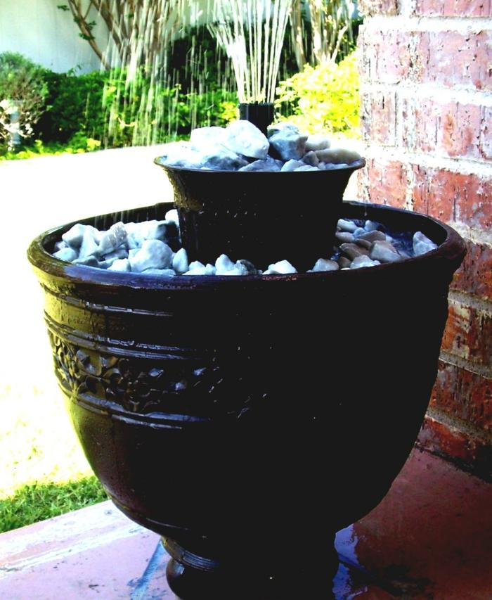 gartenideen gartendeko ideen wasser pflanzen steine