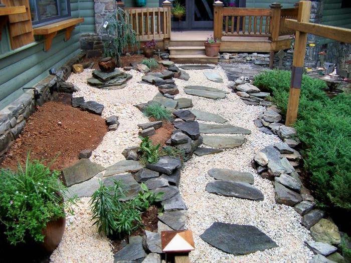 gartenplanung steingarten gestalten pflanzen hausfassade