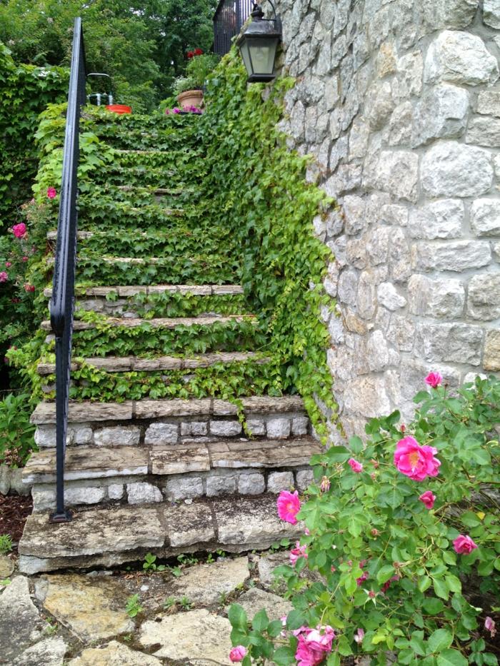 moderne gartengestaltung aussentreppe kräuter treppe aus stein