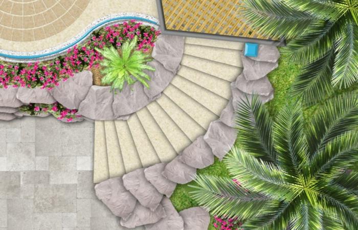 Moderne Gartengestaltung Aussentreppe Kräuter Vogelperpektive