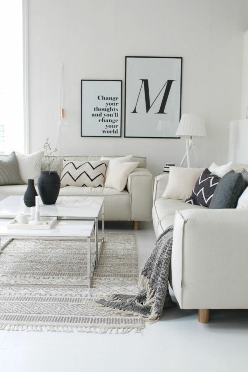 gemütliches Wohnzimmer weiß skandinavisch wohnen