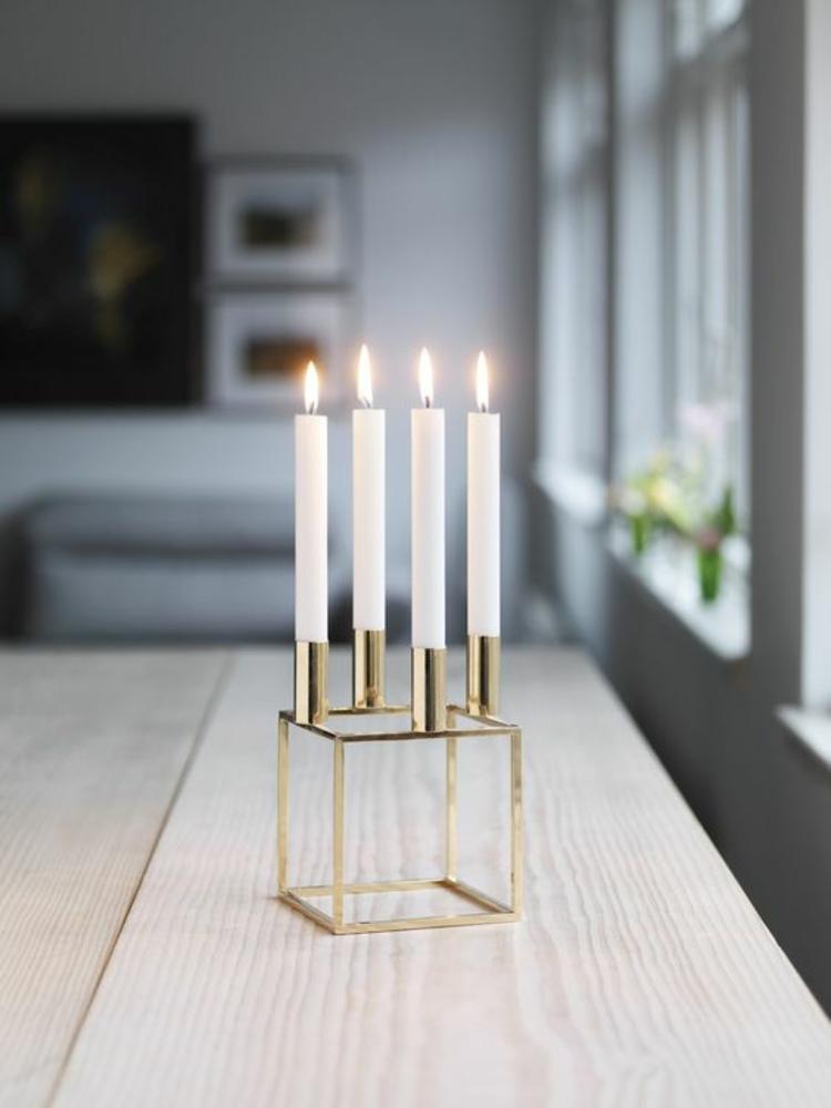 goldfarbene skandinavische Wohnaccessoires dänisches Design Kerzenständer