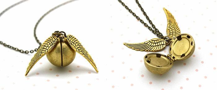 harry potter schmuck goldene halskette geschlossen flügel