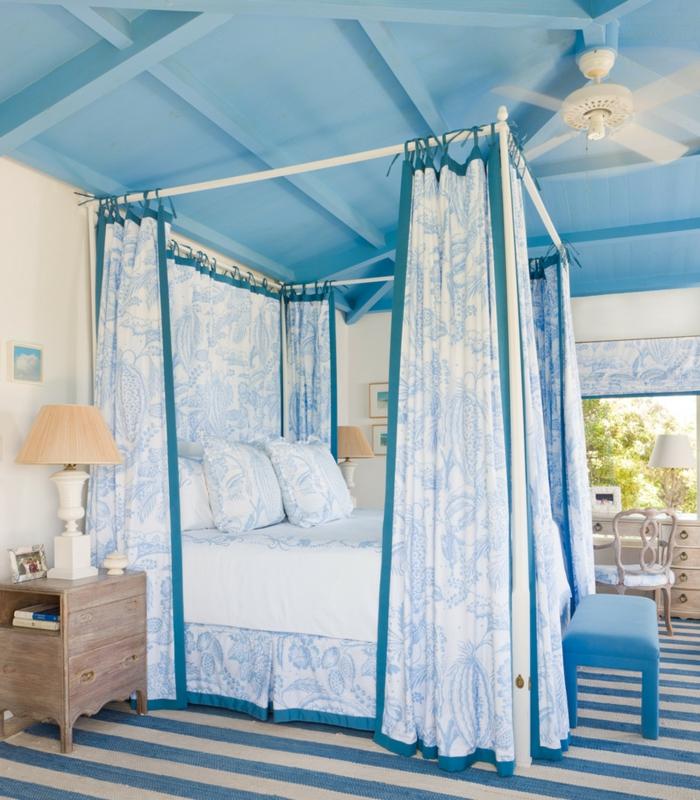 Himmelbett Vorhang Kinderzimmer : himmelbett Vorhang himmelbett blau floral