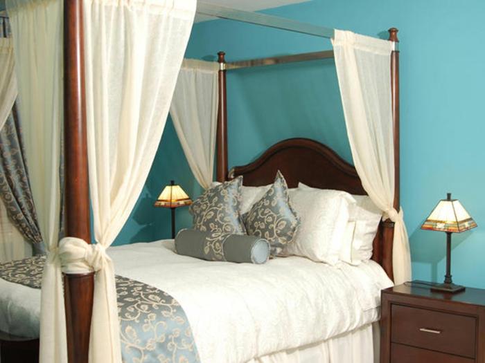 himmelbette Vorhang raumtrenner königlich blaue wände