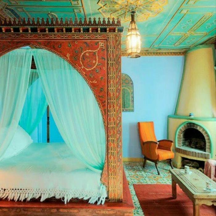 himmelbett Vorhang himmelbette gold marokko