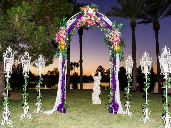 hochzeitsplanung hochzeit außen lila akzente dekoideen