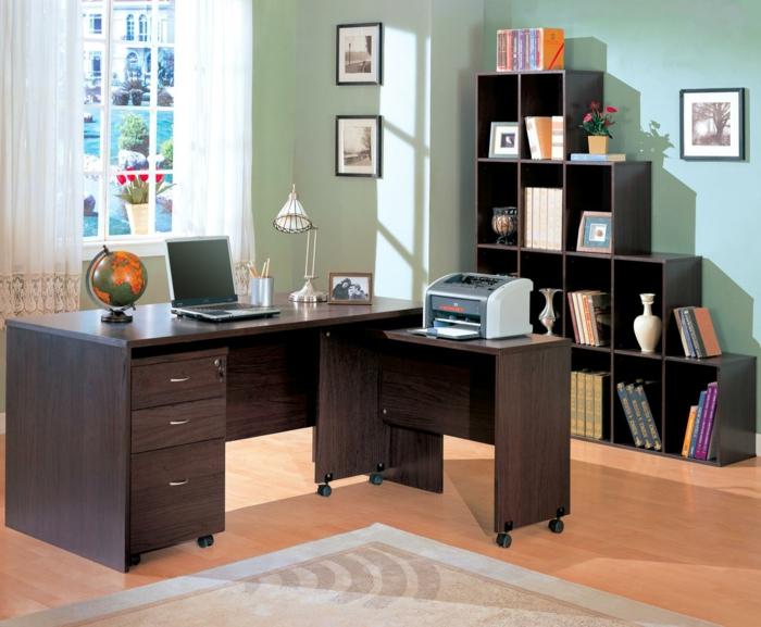 home-office bueroeinrichtung modern holzmöbel schreibtisch beistelltisch wandregale bürcherregale