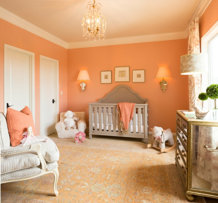 60 wandfarbe ideen in orange naturinspirierte gestaltung for Blue and peach bedroom ideas