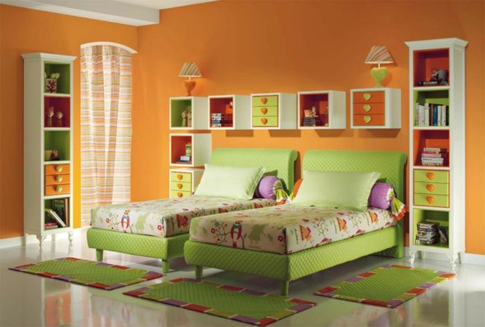 Innendesign Ideen Kinderzimmer Mädchen Grüne Elemente 60 Wandfarbe Ideen In  Orange U2013 Naturinspirierte Gestaltung Für Alle Räumlichkeiten   Farben ...