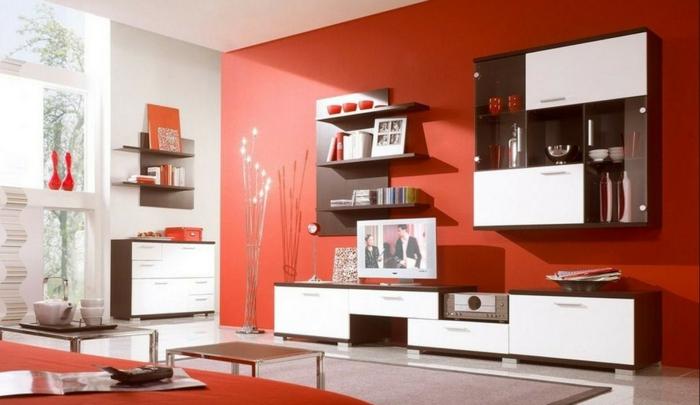 innendesign ideen wohnzimmer orange akzentwand weiße elemente wandregale