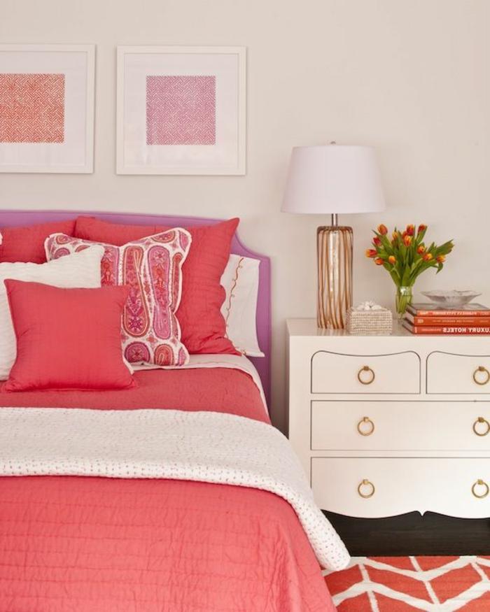 innendesign ornge rosa kombinieren mädchenzimmer