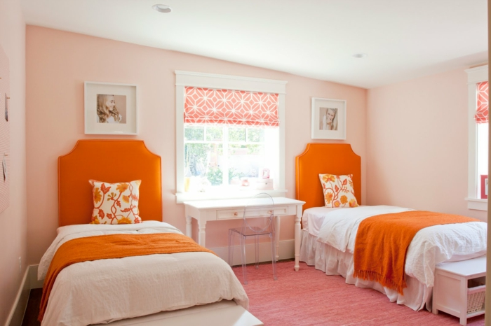 innendesign wohnideen kinderzimmer orange bettkopfteile mädchen