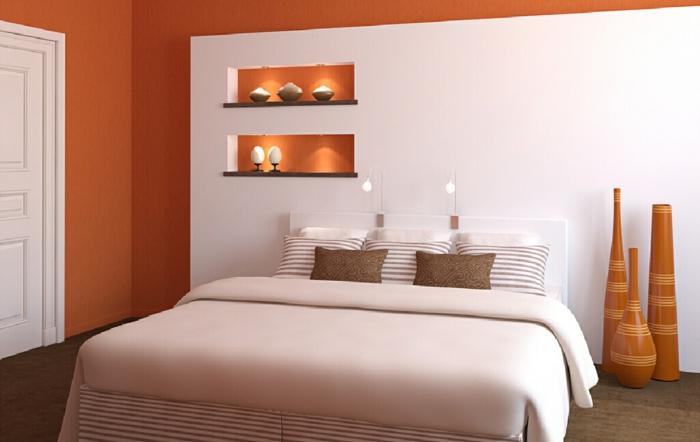 innendesign wohnideen schlafzimmer weiße elemente dekovasen