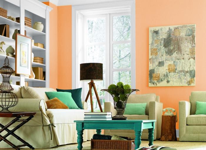 innendesign wohnideen wohnzimmer helle wände orange hellgrüne möbel