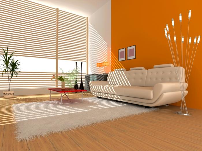 innendesign wohnideen wohnzimmer weißer teppich coole leuchten