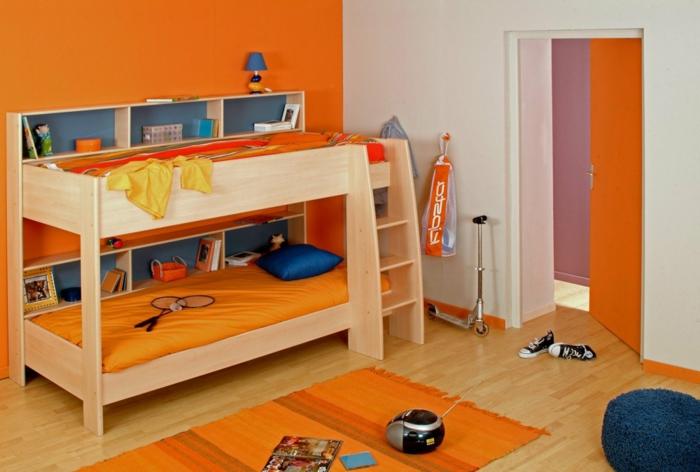 innendesign wohnideen kinderzimmer kinderhochbett teppichläufer jungenzimmer