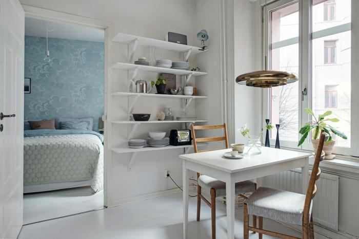 kücheneinrichtung skandinavisch esstisch pendelleuchte wandregale