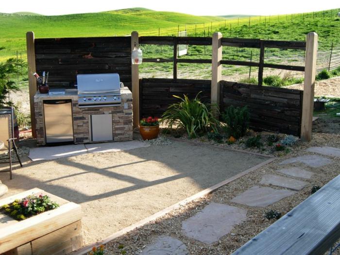 küchenschränke außenküche gestalten garten pflanzen gartenweg