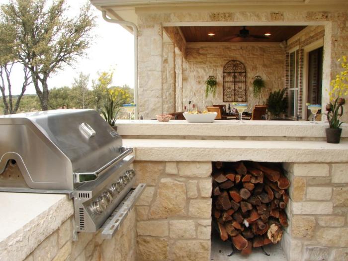 küchenschränke außenküche ideen steine außenbereich gestalten