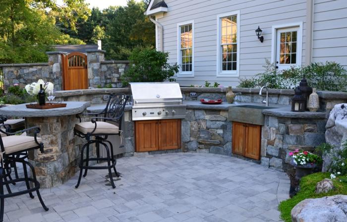 küchenschränke holz outdoor küche ideen exterieur