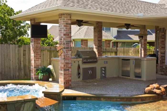 Küchenschränke Outdoor Küche Einrichten Schwimmbad Garten