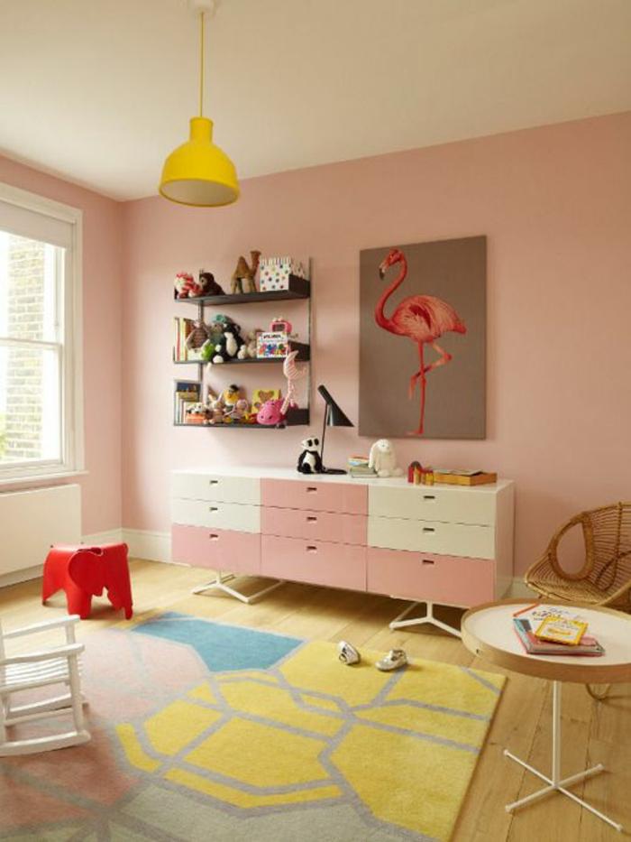 kinderzimmer teppich farbig mädchenzimmer ideen hängelampe