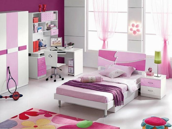 kinderzimmer teppich mädchenzimmer blumenmuster heller boden rosa akzente
