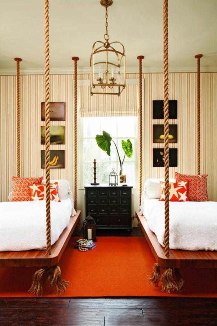 kinderzimmer teppich oranger teppich hängebetten pflanze