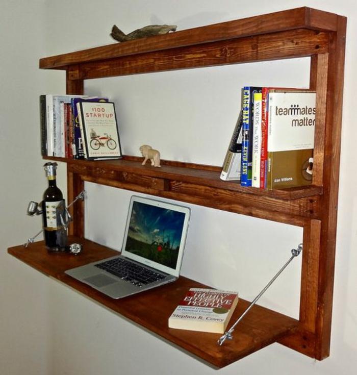 klappbarer Schreibtisch kleines Home Office Wandschrank Holz