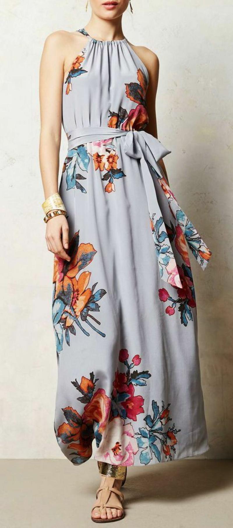 lange Sommerkleider Blumenkleid grau bunter Blumenprint