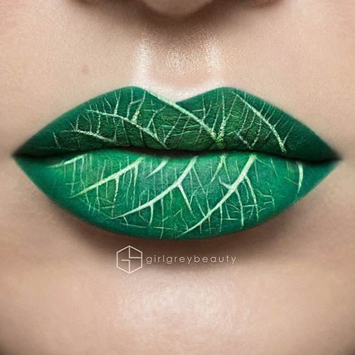 lippen schminken andrea reed blatt grüne lippen