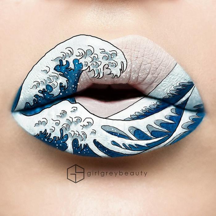 lippen schminken andrea reed schnee blau weiß