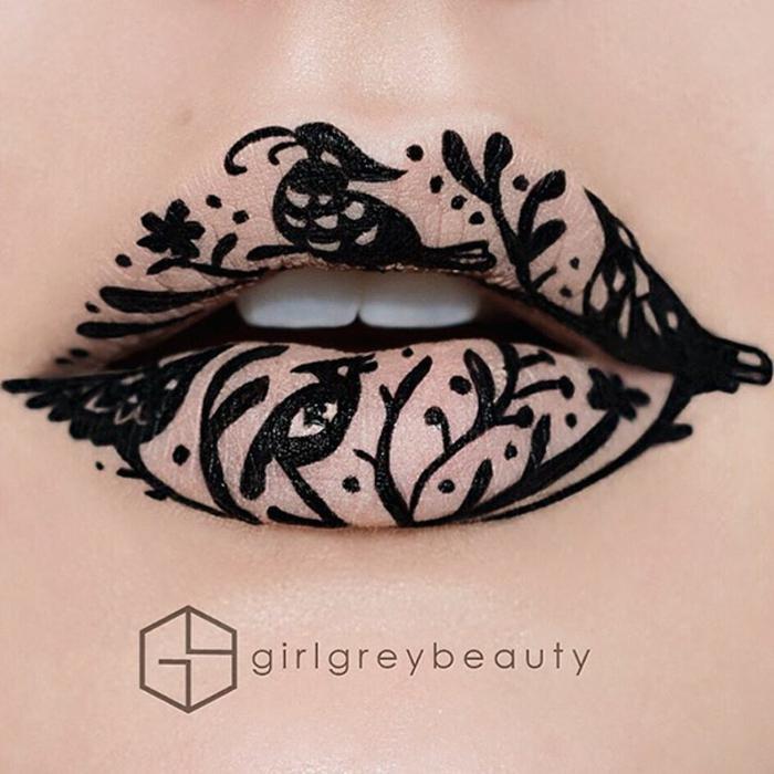 lippen schminken andrea reed waldmotive schwarze ornamente