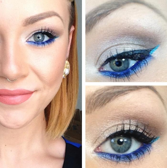 make up tipps augen eye liner blau lifestyle mode