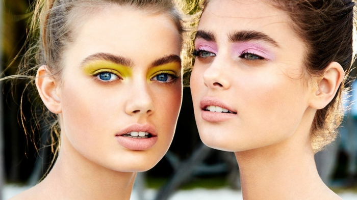 make up tipps augenschminke grelle farben lidschatten