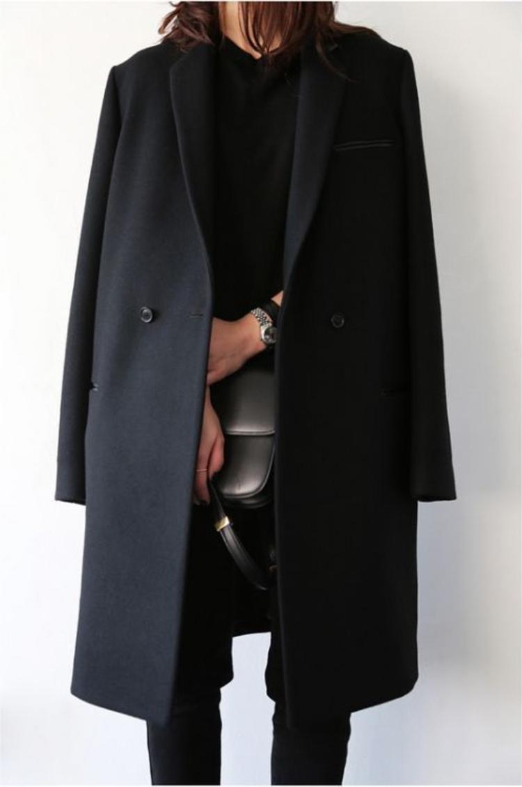 moderne Damenmantel aktuelle Trendfarben Damenmantel schwarz