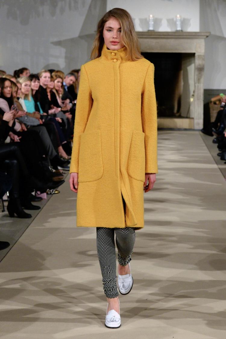 moderne Damenmäntel aktuelle Trendfarben Gelb