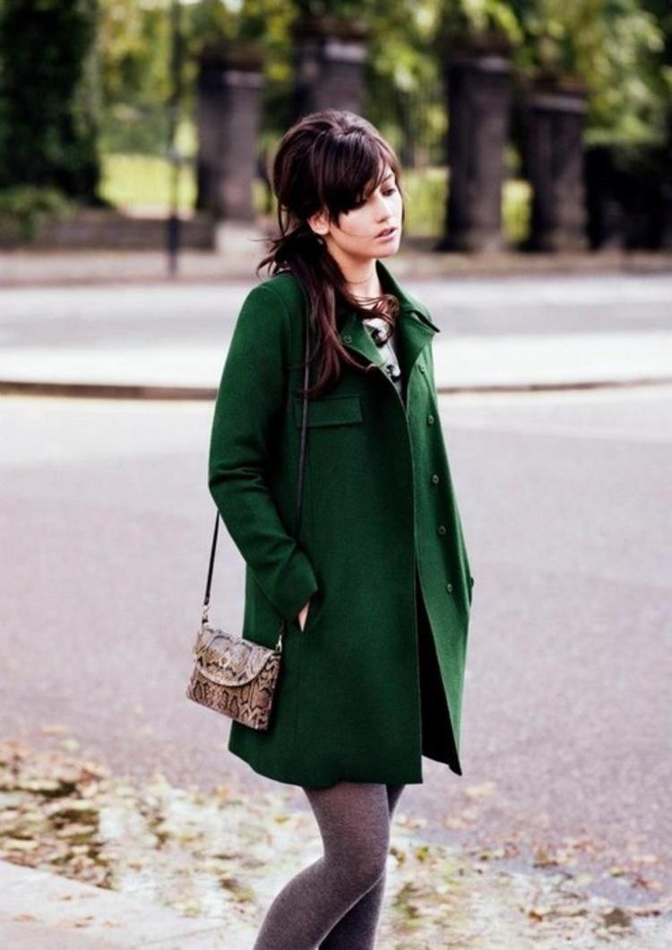 moderne Damenmäntel aktuelle Trendfarben Grün Damenmantel Winter