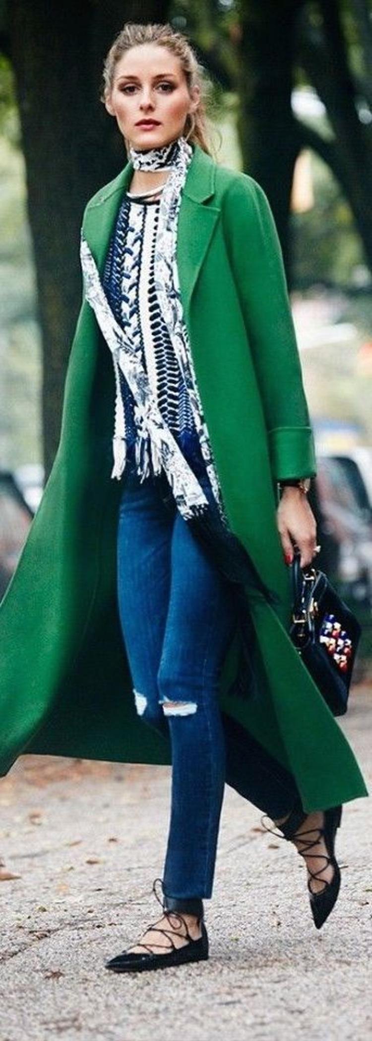 moderne Damenmäantel aktuelle Trendfarben Grün Damenmantel lang
